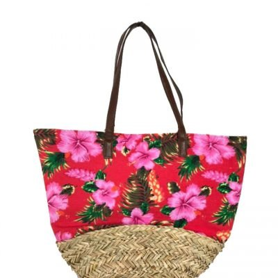 Strandtas-Happy-Flowers-rode-rood-strandtassen-rieten-onderkant-bloemen-print-flower-motief