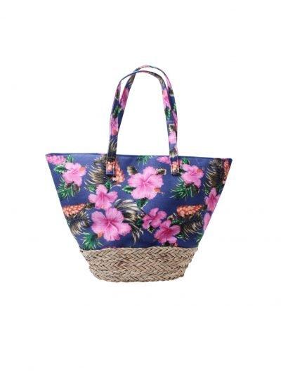 Strandtas Happy Flowers strandtassen rieten onderkant bloemen print flower motief kopen bestellen