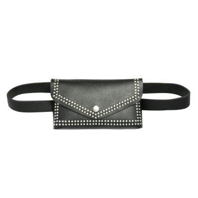 Zwarte BeltBag Fierce Studs zwarte riemtassen fannypacks met zilveren studs verstelbare riem festival tassen kopen