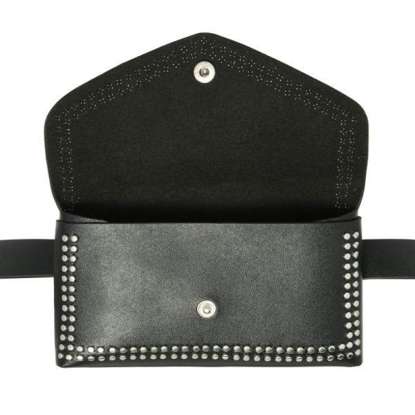 Zwarte BeltBag Fierce Studs zwarte riemtassen fannypacks met zilveren studs verstelbare riem festival tassen kopen yehwang