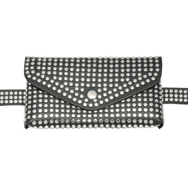 Zwarte BeltBag Many Studs zwarte riemtassen fannypacks met zilveren studs verstelbare riem festival tassen kopen