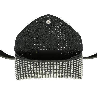 Zwarte BeltBag Many Studs zwarte riemtassen fannypacks met zilveren studs verstelbare riem festival tassen kopen in