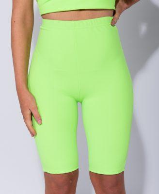 Biker-Short-Neon-groen groene high waisted-neon-cycling-fietsbroek-korte-leggings-wielrenbroekken-kopen-bestellen-fashion festival