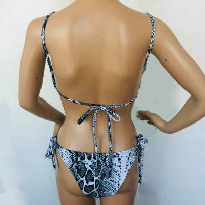 Bikini Snake Slangenprint bikinis dames badkleding two piece snakeprint wit witte back
