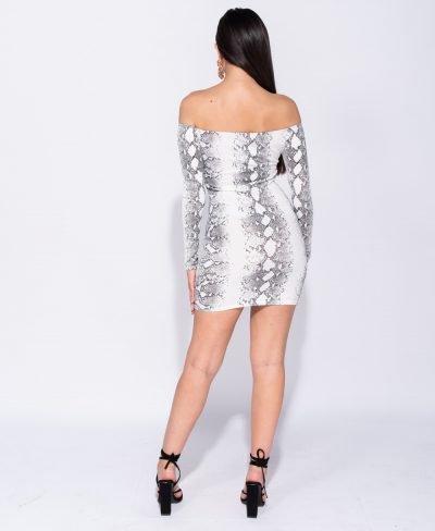 Bodycon Jurk Snake wit slangenprint jurk straploss snake-print bandeau dames jurken kopen festival off shoulder achter