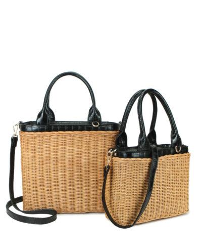 Duo Mand Summer bruin bruine riet rieten manden zwarte hengsels giuliano tassen strandtassen manden bag in bag kopen fashionbags kopen