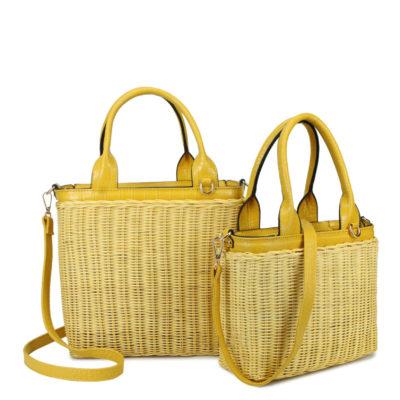 Duo Mand Summer gele geel riet rieten manden giuliano tassen strandtassen manden bag in bag kopen fashionbags kopen