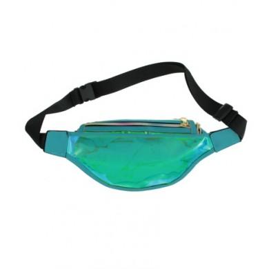 Heuptas Transparant Oily Metallic Tuquoise blauw groen heuptassen fannypack festival tasjes online kopen bestellen achterkant