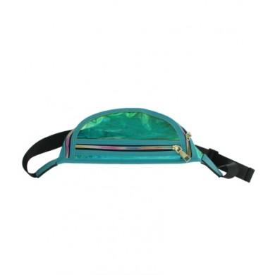 Heuptas Transparant Oily Metallic Tuquoise blauw groen heuptassen fannypack festival tasjes online kopen bestellen boven