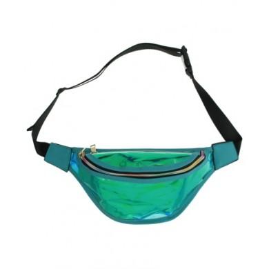 Heuptas Transparant Oily Metallic Tuquoise blauw groen heuptassen fannypack festival tasjes online kopen bestellen shiney