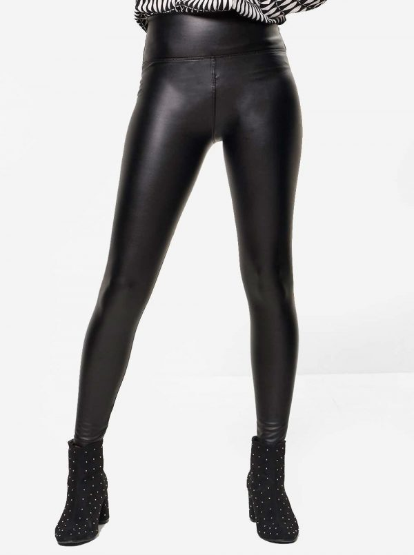 LEATHERLOOK LEGGING zwart dames legging leder glans broeken kopen