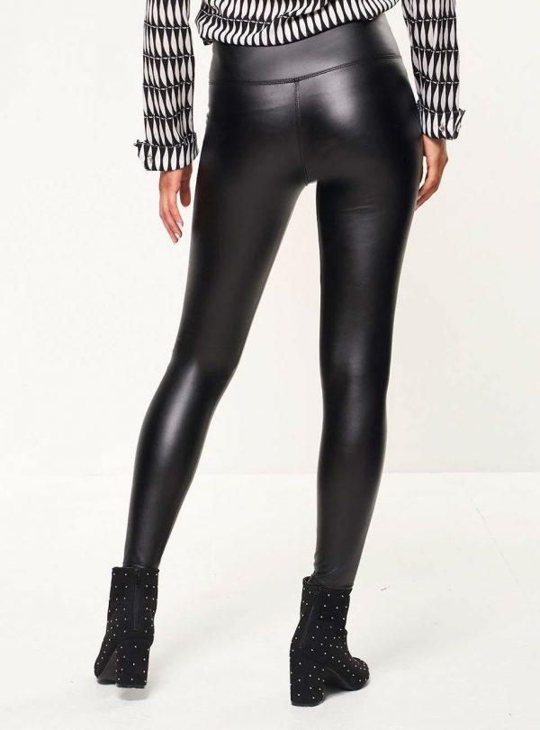 LEATHERLOOK LEGGING zwart dames legging leder glans broeken kopen achterkant
