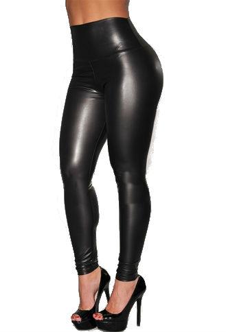 LEATHERLOOK LEGGING zwart dames legging leder glans broeken kopen sexy strakke broeken kopen