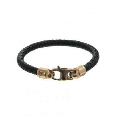 Leren Mannen Armband Fighter stainless steel gouden slot stoere mannen armbanden bracelets kopen