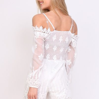 Playsuit romantic wit witte dames korte jumpsuit festival achter