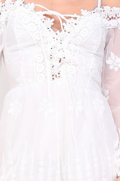 Playsuit romantic wit witte dames korte jumpsuit festival details