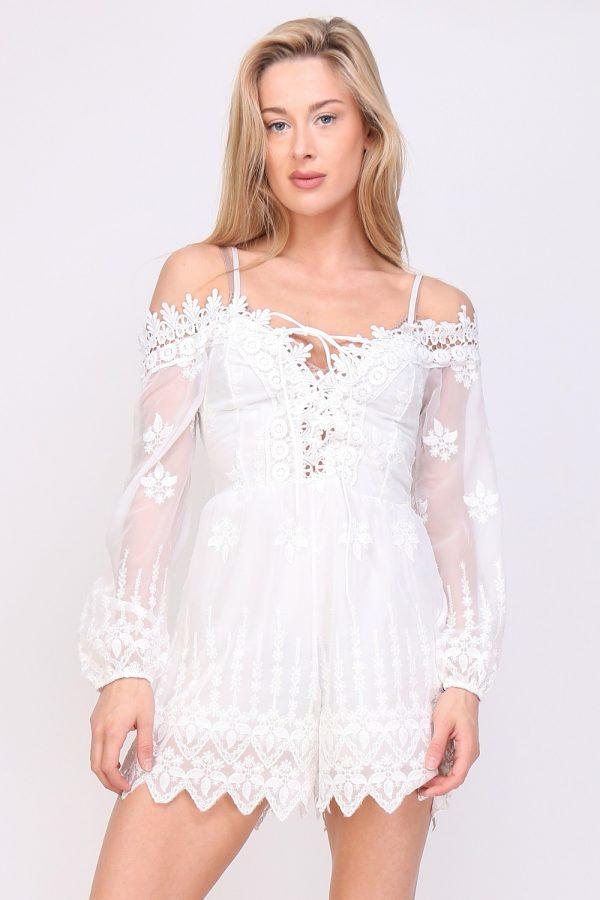 Playsuit romantic wit witte dames korte jumpsuit festival kopen