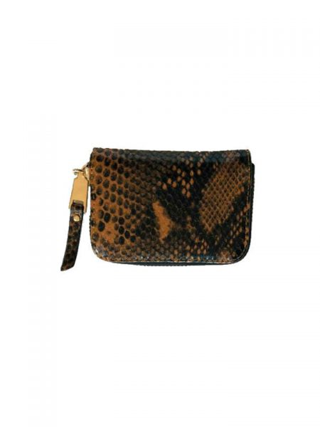 Portemonnee Slangenprint bruine bruin snake print Portemonnees kleine wallets giuliano tasjes kopen