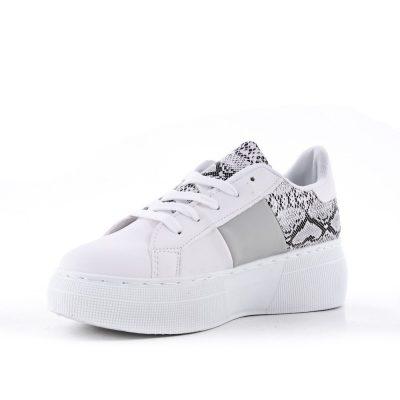 Sneaker Snake wit witte dames sneakers slangenprint hoge zool