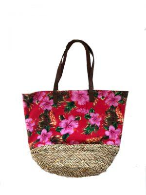 Strandtas-Happy-Flowers- rode rood strandtassen-rieten-onderkant-bloemen-print-flower-motief-k