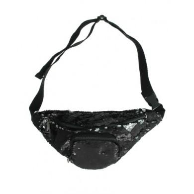 Zwarte Heuptas Pailetten zwart heuptassen fannypack festival tasjes online kopen bestellen shiney