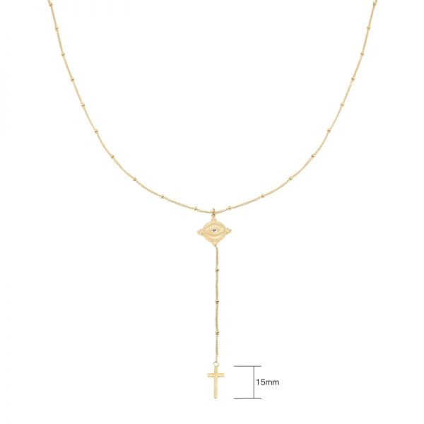 Ketting The Look goud gouden ketting met oog en kruis bedel dames fashion sieraden kopen bestellen detail