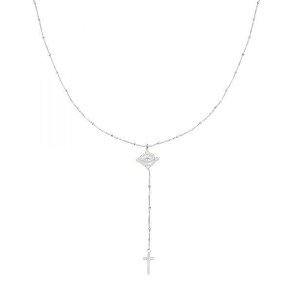 Ketting The Look zilver zilveren ketting met oog en kruis bedel dames fashion sieraden kopen bestellen