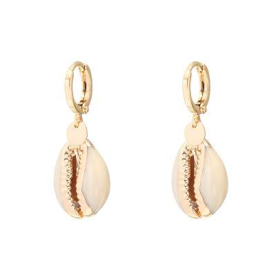 Oorbellen Endless Shell goud gouden schelp oorbellen schelpen gouden coating yehwang earring bestellen kopen