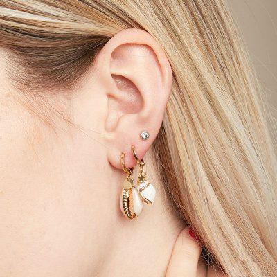 Oorbellen Endless Shell goud gouden schelp oorbellen schelpen gouden coating yehwang earring bestellen kopen detail