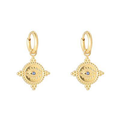 Oorbellen The Look goud gouden oorbellen met oog met blauwe steen bedel dames fashion sieraden kopen bestellen detail