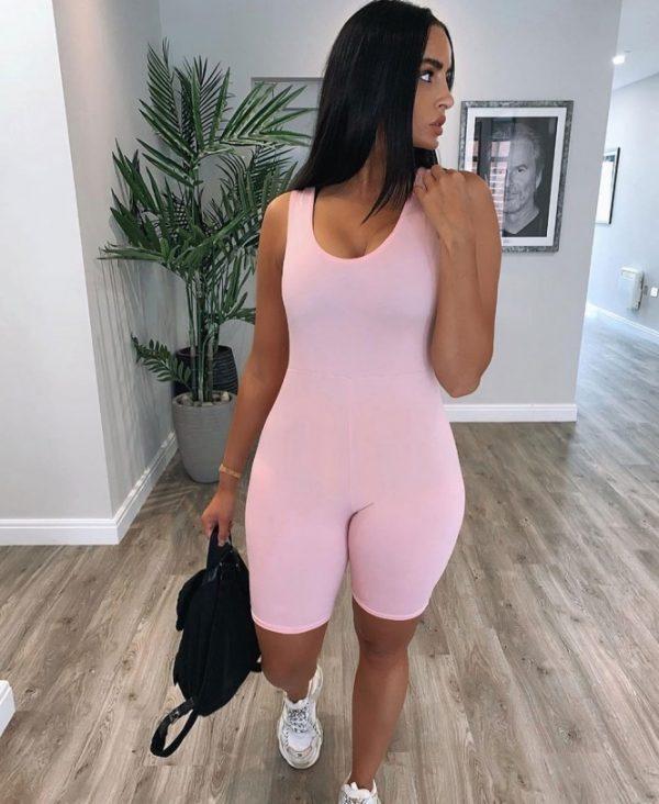 Roze Jumpsuit Biker Shorts pink roze wielrenbroek pakje playsuit bodysuit festival fashion outfit kopen sexy