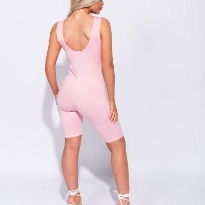 Roze Jumpsuit Biker Shorts pink roze wielrenbroek pakje playsuit bodysuit festival fashion outfit kopen sexy achter