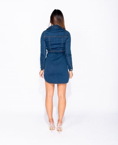 Spijkerjurk Button Up -sexy-spijkerjurk met-knopen-getailleerde-korten-festival-jurken-dennimdress-kopen- button-up-front-long-sleeve-denim-bodycon-shirt-dress- achter