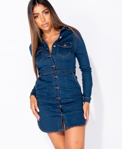 Spijkerjurk-Button Up -sexy-spijkerjurker-met-knopen-getailleerde-korten-festival-jurken-dennimdress-kopen-bestellen- button-up-front-long-sleeve-denim-bodycon-shirt-dress-
