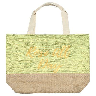 Strandtas ROSÉ ALL DAY groen beige strandtassen met gouden tekst zomer tassen online strandtas kopen rits