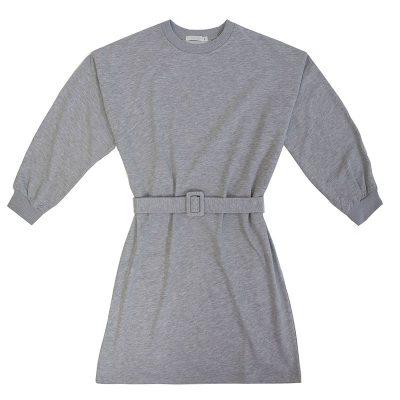 Sweater Dress FUNKY STYLE grijs grijze dames sweater jurken met riem warm trendy kleding kopen