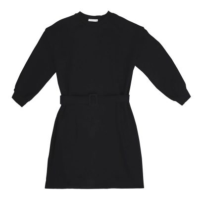 Sweater Dress FUNKY STYLE zwart zwarte dames sweater jurken met riem warm trendy kleding kopen
