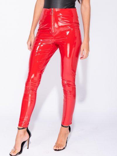 Vinyll-Legging-Zipper-rood rode -leggings-broeken-dames-zilveren-rits-voor-fashion-lak-kopen glans