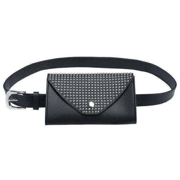 Zwarte Beltbag Trendy Studs zwart Heuptas riemtas zilveren studs festival bags tassen online kopen