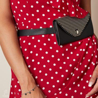 Zwarte Beltbag Trendy Studs zwart Heuptas riemtas zilveren studs festival bags tassen online kopen bestellen