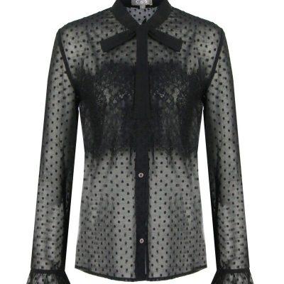 Zwarte kanten Blouse Dots zwarte dames blouse met strik werk hemden classy trendy kleding fashion kopen bestellen
