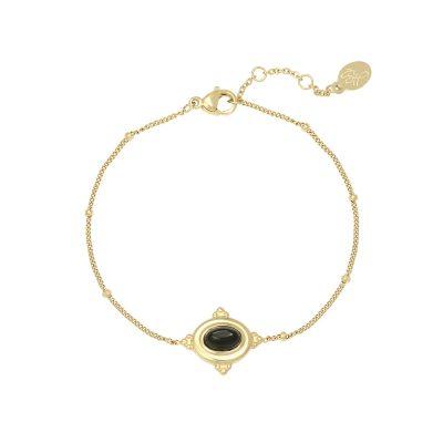 Armband Mystic Life goud gouden verstelbare dames armbanden zwarte steen vintage bracelets sieraden setje musthave kopen