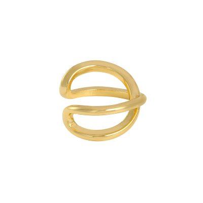 Earcuff Double goud gouden oor machette ear cuff ear cuffs oorbellen oorbel gekruist gekruisde trendy trends earcandy kopen