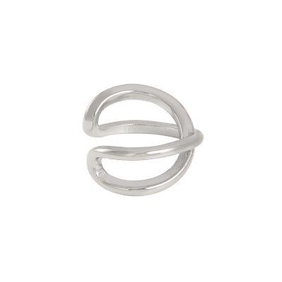 Earcuff Double zilver zilveren oor machette ear cuff ear cuffs oorbellen oorbel gekruist gekruisde trendy trends earcandy kopen