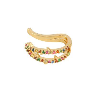 Earcuff Hope goud gouden oor machette ear cuff ear cuffs oorbellen oorbel gekleurde steentjes trendy trends earcandy kopen