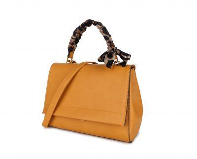 Handtas Classy Leopard geel gele dames tassen giuliano panter hengsel goud beslag tassen kopen bestellen