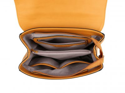 Handtas Classy Leopard geel gele dames tassen giuliano panter hengsel goud beslag tassen kopen bestellen binnenin