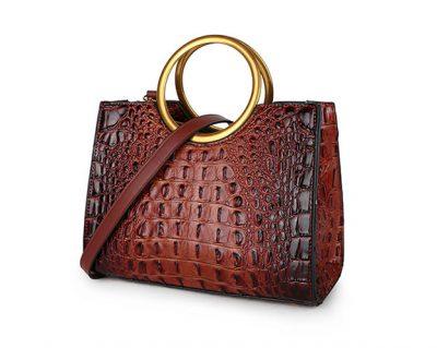 Handtas Pretty Croco bruin bruine giuliano klassieke handtassen rond handvat krokoprint kunstleder giuliano tassen kopen bestellen goud