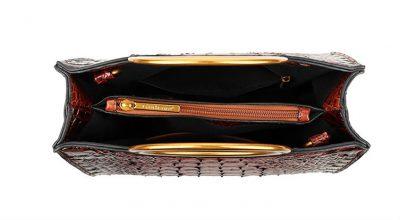 Handtas Pretty Croco bruin bruine giuliano klassieke handtassen rond handvat krokoprint kunstleder giuliano tassen kopen bestellen goud binnenin