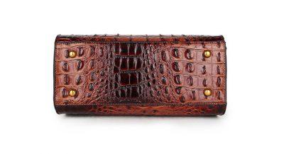 Handtas Pretty Croco bruin bruine giuliano klassieke handtassen rond handvat krokoprint kunstleder giuliano tassen kopen bestellen goud onder